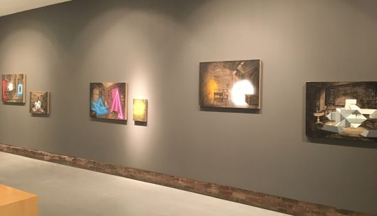 New works by Alejandro Pintado fill the wall at Hamiltonian Gallery. Photo for East City Art by Eric Hope.