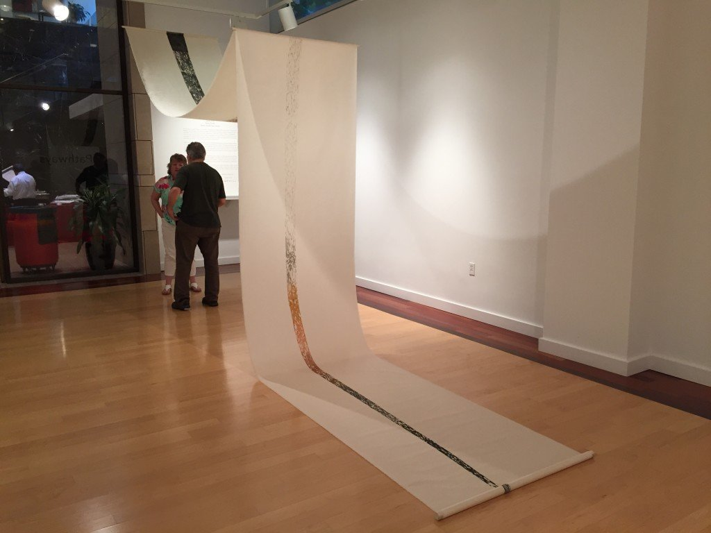"""Anne Smith, Something to Nothing, 2013, woodcut print on kitikata paper 38 x 324"""", installation dimensions variable, Photo by Jay Hendrick"""
