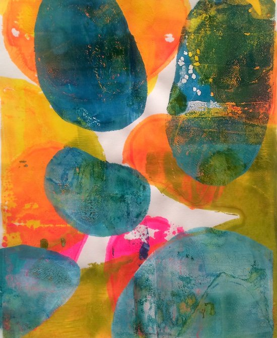 """Andrea Cybyk, Floating Forms II, 2016, acrylic on paper, 10""""H x 8""""W (artist participating in the Mary B. Howard Artist Member Exhibition). Courtesy of GRACE."""