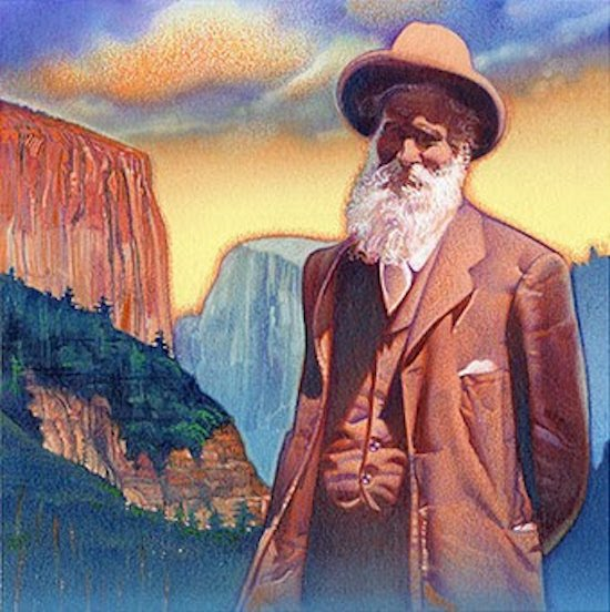 John Muir stamp art (Celebrate the Century Issue). Courtesy of the Smithsonian National Postal Museum.