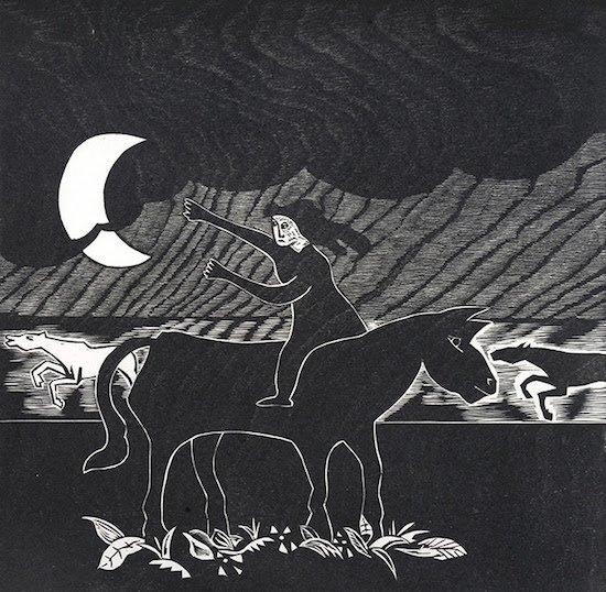 Naul Ojeda, Fleeing from the Storm, 1981. Woodblock, 2/30. Courtesy of the Alper Initiative for Washington Art.