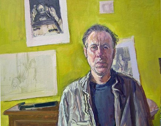 """Self Portrait on 44th and 46th birthday, 2013-2015 oil on paper mounted on board, 22""""x 28"""" by Brian Kerydatus. Courtesy of Washington Studio School."""