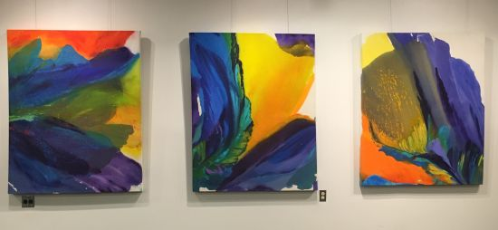 Works by Barbara Januszkiewicz. From left: Take It Easy; No Matter How Far; All or Nothing At All Photo for East City Art by Eric Hope.