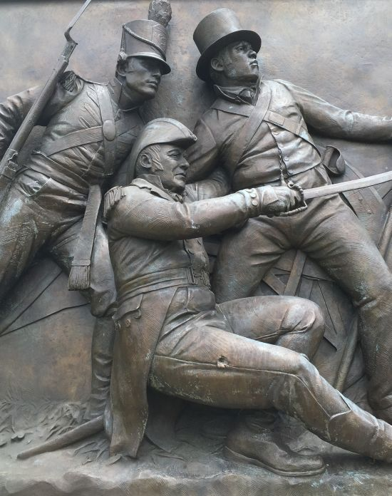 Close-up view of Undaunted in Battle featuring details such as the bullet wound on the Commodore's leg. Photo for East City Art by Eric Hope.
