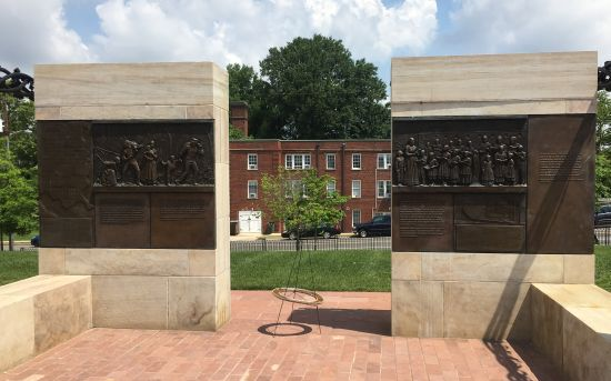 Blake's friezes play a prominent, story-telling role at the Contrabands and Freemen Cemetery Memorial in Alexandria, VA. Photo for East City Art by Eric Hope.