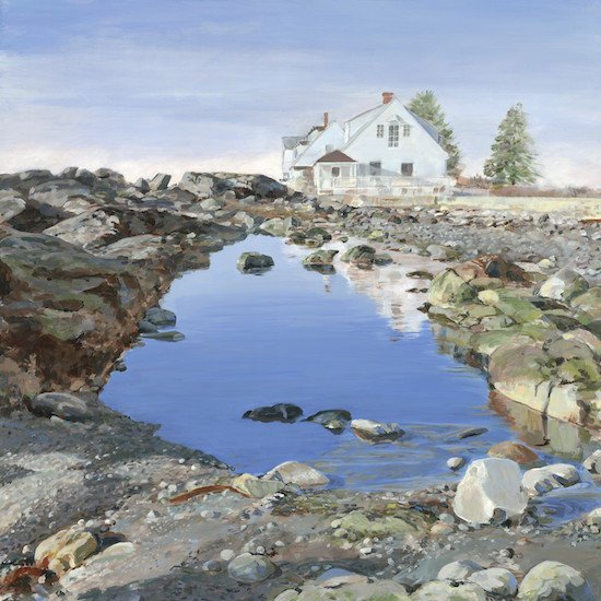 """Beach Houses at Lord's Point (Journey Home, 3) acrylic, 36"""" x 36"""". Courtesy of The Art League."""