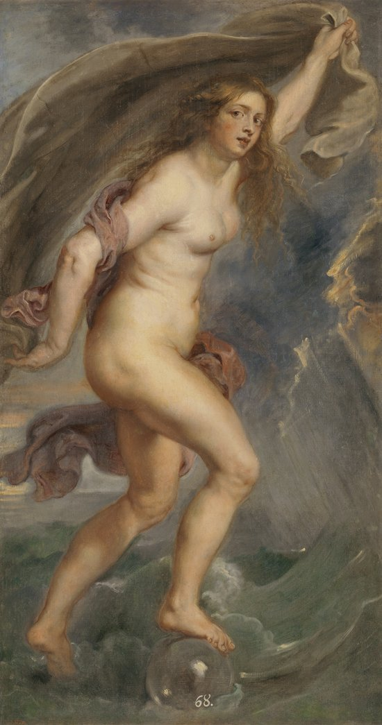 Peter Paul Rubens, Fortune, 1636-1638. Oil on canvas, 71 3/4 x 39 5/8 in. Photographic Archive. Museo Nacional del Prado, Madrid.