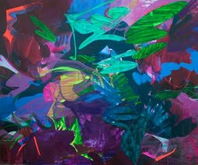 Nicole Mueller, Cacophony, 2016, mixed media on canvas, 60 x 72 inches. Courtesy of VisArts.