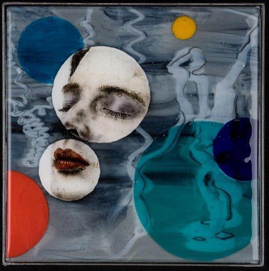 "Stillness, 2016, Kiln formed glass, glass powder imagery, steel frame, 12.5"" x 12.5"" x 1"". Image courtesy Maurine Littleton Gallery."