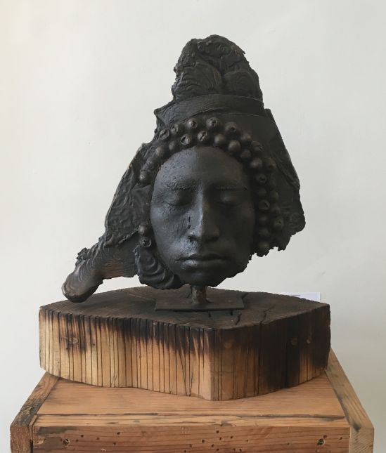 Unmasked Wilfredo Valladares Bronze and wood Photo for East City Art by Eric Hope.