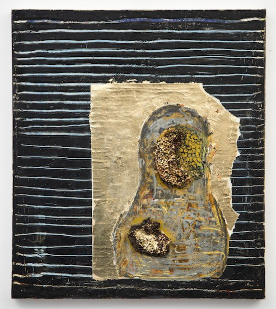 Beginning Comes Last by Alfonse Borysewicz, oil, wax, linen, comb, gold leaf. 25 x 22 ½. Courtesy of Dadian Gallery.