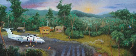 Michael Sastre, The White Horse, oil on canvas, 14 x 36 inches. Courtesy of VisArts.