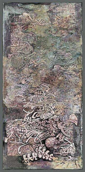 "Rosemary Feit Covey,Bones, 2016, 50""x24"", mixed media on canvas. Courtesy of the artist and Morton Fine Art."