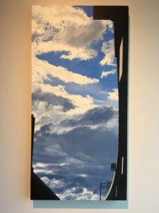 "Lillian Bayley Hoover, Around Back, Billboard, oil on panel, 24"" x 48"", 2016, Photo by Jay Hendrick"