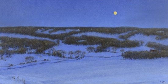 Joseph Keiffer An Alabaster Moon, 2015 Oil on Canvas; Canvas size: 15 x 30 inches. Courtesy of gallery neptune & brown.