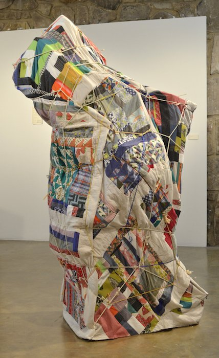 Julia Gartrell, Old Man, Fabric, plastic, rocking chair, various rope and string, 2016. Courtesy of Target Gallery.