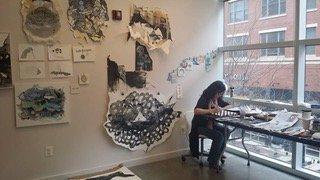 Mei Mei Chang at work in the Bresler Residency studio at VisArts. Courtesy of VisArts.