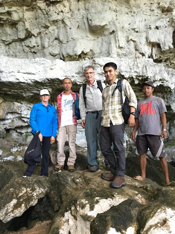 Members of the sixth day expedition at Leang Jarie: Libby Harris, Archeologist Rustan Lebe, Craig Kraft, translator Akram Arsyad and local guide.