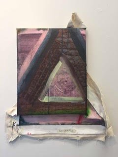 Jay Hendrick and Becca Kallem, Greco Pink Tag, 2016, acrylic on canvas on wood, 30 x 25 inches. Courtesy of VisArts.