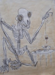 Max DeMulder, Teatime, 2016, pen and ink with tea wash on paper, 18 x 24 inches. Courtesy of VisArts.
