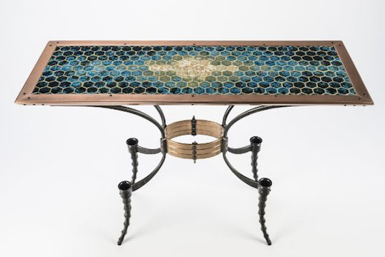"""Wasp-waist Table"""" Collaboration between Chris Shea and Sarah Nikitopoulos. Courtesy of the Mansion at Strathmore."""