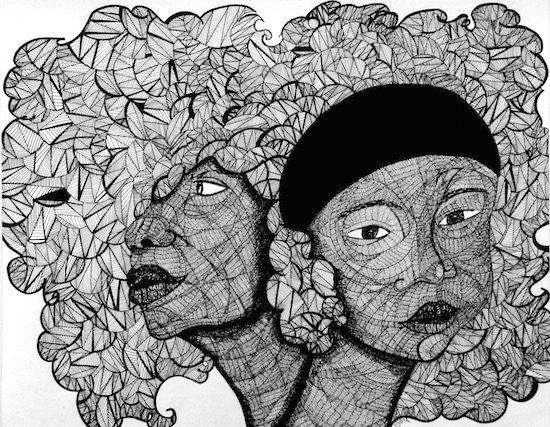 """Ashley Ja'nae, I am Whole, 2014, Pen on paper, 20"""" x 24"""". Photo courtesy of DCAC."""