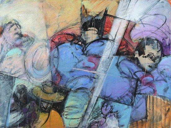 "The Bluff Worked. Elizabeth Casqueiro. 30""x40"". Acrylic on Canvas. Courtesy of Studio Gallery."
