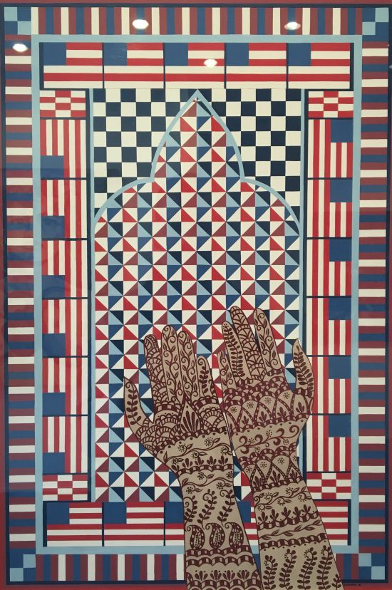 """Helen Zughaib Prayer Rug for America Two (2016) Gouache on board 15 x 24"""" Photo for East City Art by Eric Hope."""