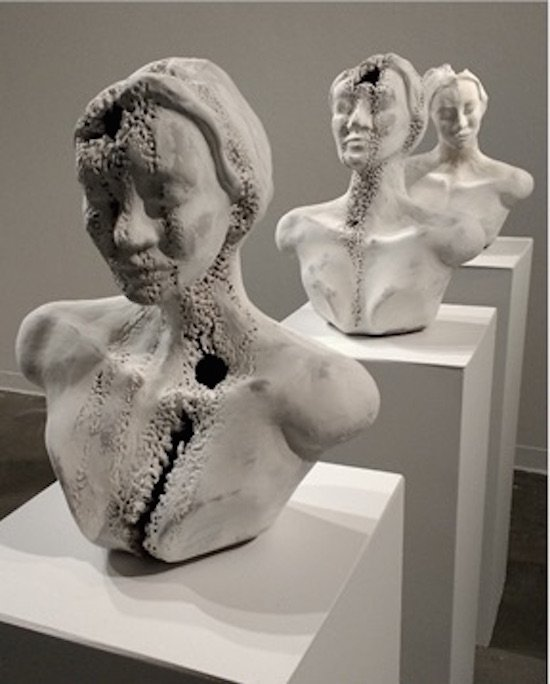 Simone Welsh, My Three Sisters, 2016. Hand-built porcelain modified with sulfuric/phosphoric acid. Courtesy of Target Gallery.