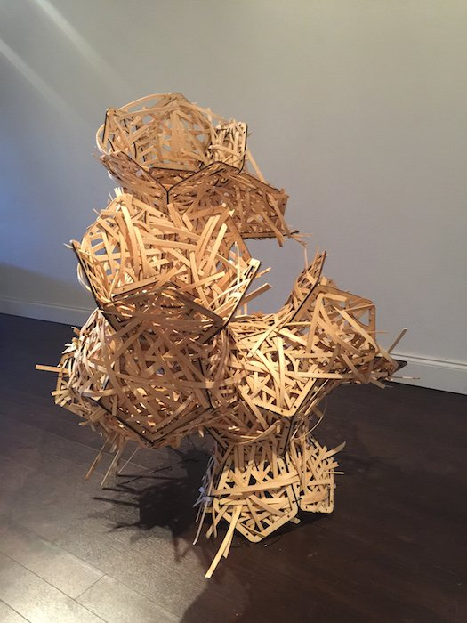 """Christian Benefiel, Factions of people Certain of what they believe is Oppression, 2017. Wood, dimensions variable (approx. 36""""x40""""x48""""). Courtesy of Flashpoint Gallery."""