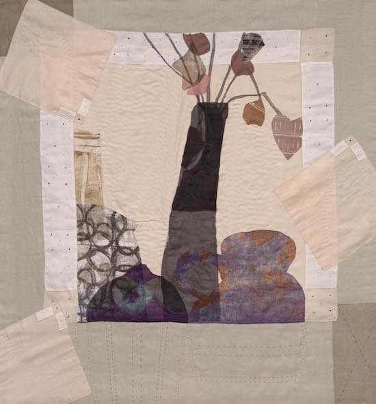 Dominie Nash, Stills From A Life 9, fabric collage, 46 x 44 inches. Courtesy of BlackRock Center for the Arts.