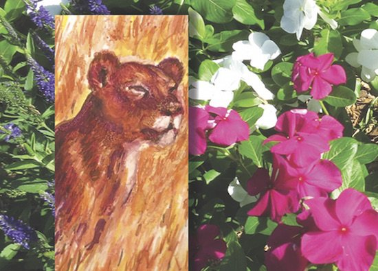 Composite details of Protectress (monotype) and Flower Circle 28 (photography) by Marian Osher, courtesy of the artist.