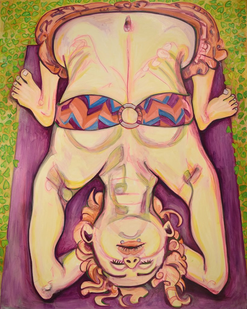 "Anahata: Heather Markowitz Urdhva Dhanurasana Wheel Pose on Forearms 2015-16 Oil on Canvas: 60""x48"""
