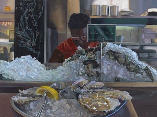 Jennifer Kahn Barlow, Oyster Bar Experience, 2016. Oil on canvas, 30x40. Courtesy of the artist.