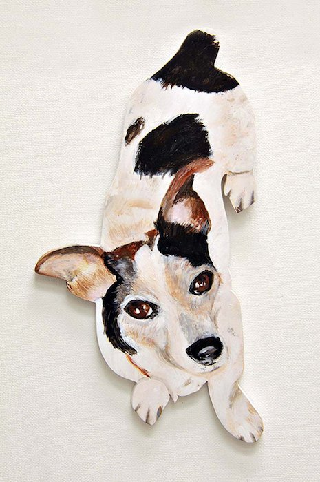 dog on the wall by Seena Sussman Gudelsky. Courtesy of Artists & Makers Studios 2.