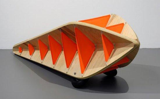 "John Lundak, AERODROME: FORM 2, Wood, rip-stop nylon, wheels and hardware, 20"" x 48"". Courtesy of Glen Echo Park Partnership."