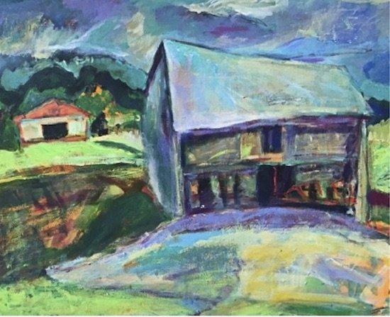 Dancing Barn, acrylic on canvas, 16 x 20 by Kristen Morrison.