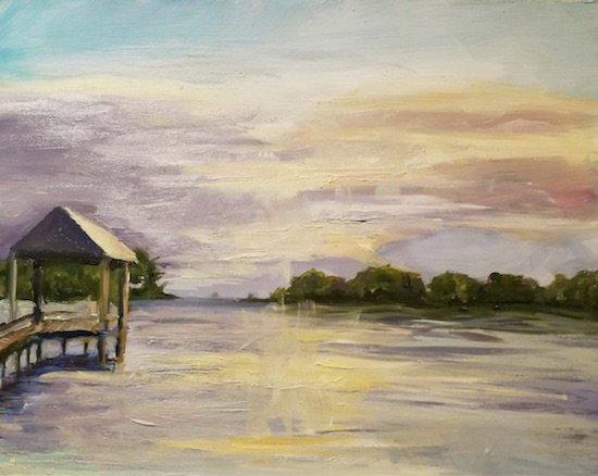 Tilghman Sunset, oil on board, 11 x14 by Lou Wilson.