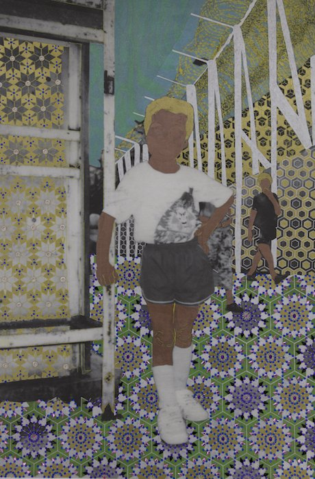 """Khánh Lê, Standing at the Gate with His New White Tennis Shoe and T-Shirt, 2017. Mixed media: gold and silver paint, acrylic jewels, and toner and gel transfer on wood panel. 42""""x30""""x2"""". Courtesy of Flashpoint Gallery."""