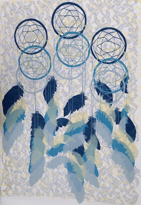 Amelia Hankin, Dreamcatchers with Pattern, screen print, 2017, photo courtesy of artist.