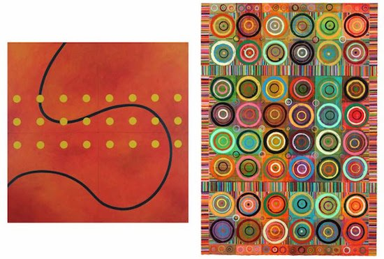 """Above left: Feel Like a Tourist, Stephen Boocks, acrylic on wood panel, 48 x 48"""", 2017 Above right: Pivot.21, Reni Gower, acrylic on paper mounted on canvas covered panel, 38.5 x 27"""", 2014"""