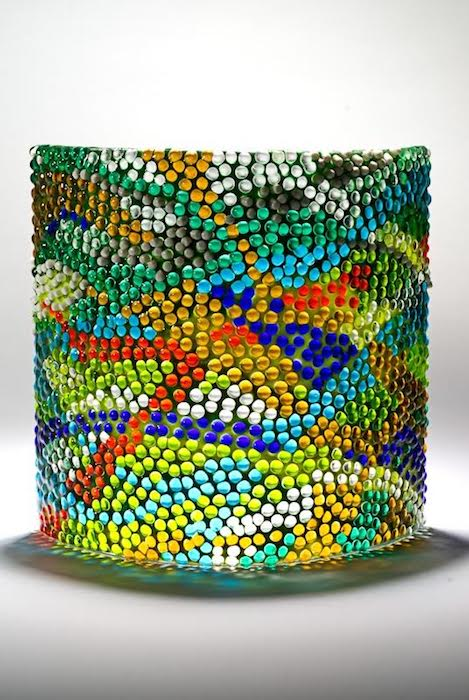 """Coral Reef 1, by David Beers, is a 10"""" x 10"""" x 4"""" luminaire made of 1,200 pieces of hand-cut glass, placed fused. Courtesy of Glen Echo Park."""