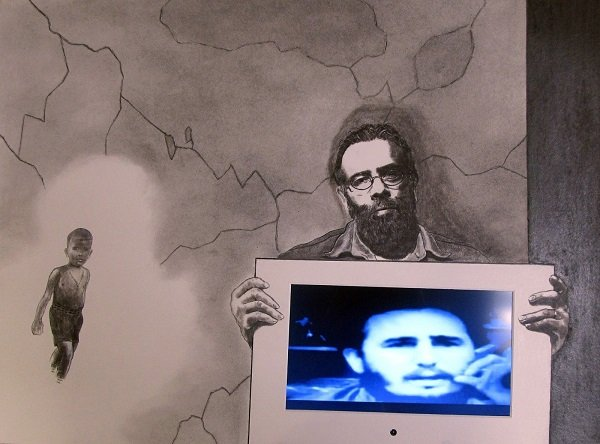 Cuban by Ancestry, but American by the Grace of God, 2017, charcoal and conté crayon drawing with embedded video and sound. Image courtesy of the artist. (Image of Fidel Castro and Nikita Khrushchev)
