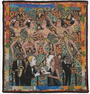 Faith Ringgold, American Collection #4: Jo Baker's Bananas, 1997; Acrylic on canvas with pieced fabric border, 80 1/2 x 76 in.; National Museum of Women in the Arts, Purchased with funds donated by the Estate of Barbara Bingham Moore, Olga V. Hargis Family Trusts and the Members' Acquisition Fund; Photo by Lee Stalsworth.