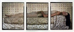 Lalla Essaydi, Bullets Revisited #3, 2012; Three chromogenic prints mounted on aluminum, 66 x 150 in. overall; National Museum of Women in the Arts, Purchased with funds provided by Jacqueline Badger Mars, Sunny Scully Alsup and William Alsup, Mr. Sharad Tak and Mrs. Mahinder Tak, Marcia and Frank Carlucci, and Nancy Nelson Stevenson; © Lalla Essaydi.