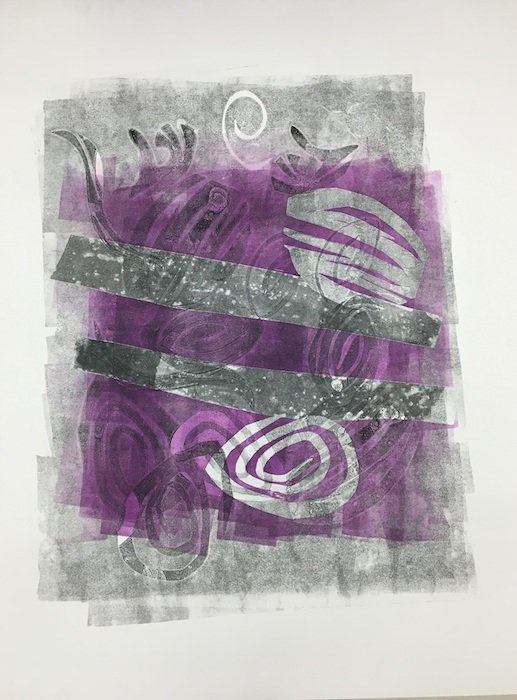 """Adjowa Burrowes; Undercurrent_1; monotype on paper; 28"""" x 36""""; photo courtesy of the artist."""