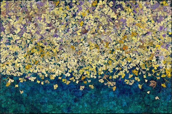 """Rosemary Feit Covey, Ginkgo, 2017, 48""""x72"""", wood engraving & painting on canvas. Courtesy of Morton Fine Art."""