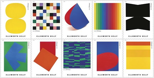 US Postal Service Honors Artist Ellsworth Kelly with Stamps