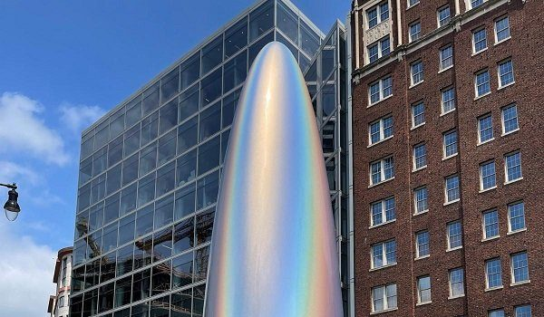 The Parabolic Monolith Iridium is on view at James Monroe Park in Northwest DC through early 2022